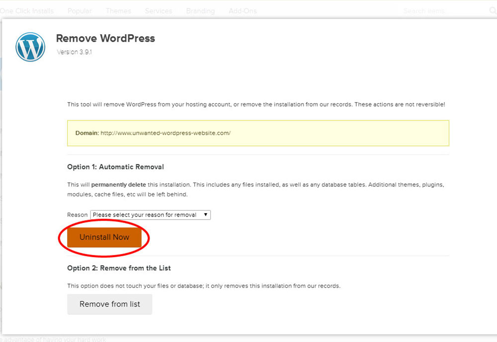 Uninstall-Wordpress1