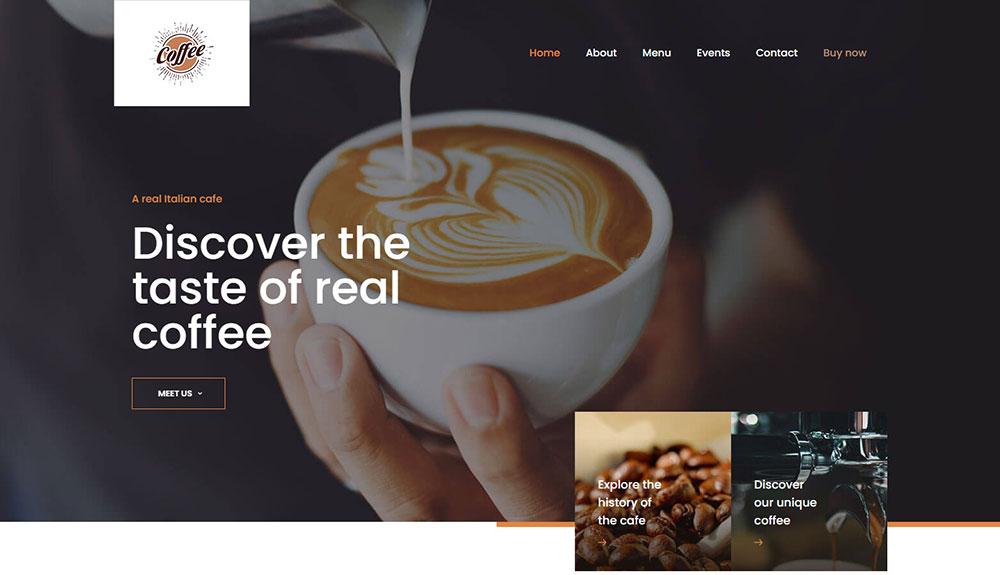 Great Cafe Websites With Modern Website Design